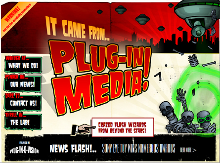 Plug-in Media home page - exploding skeletons